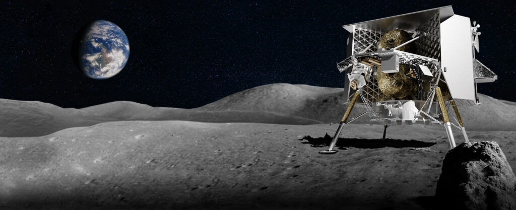 A lunar spacecraft on the surface of the moon with Earth visible in the background