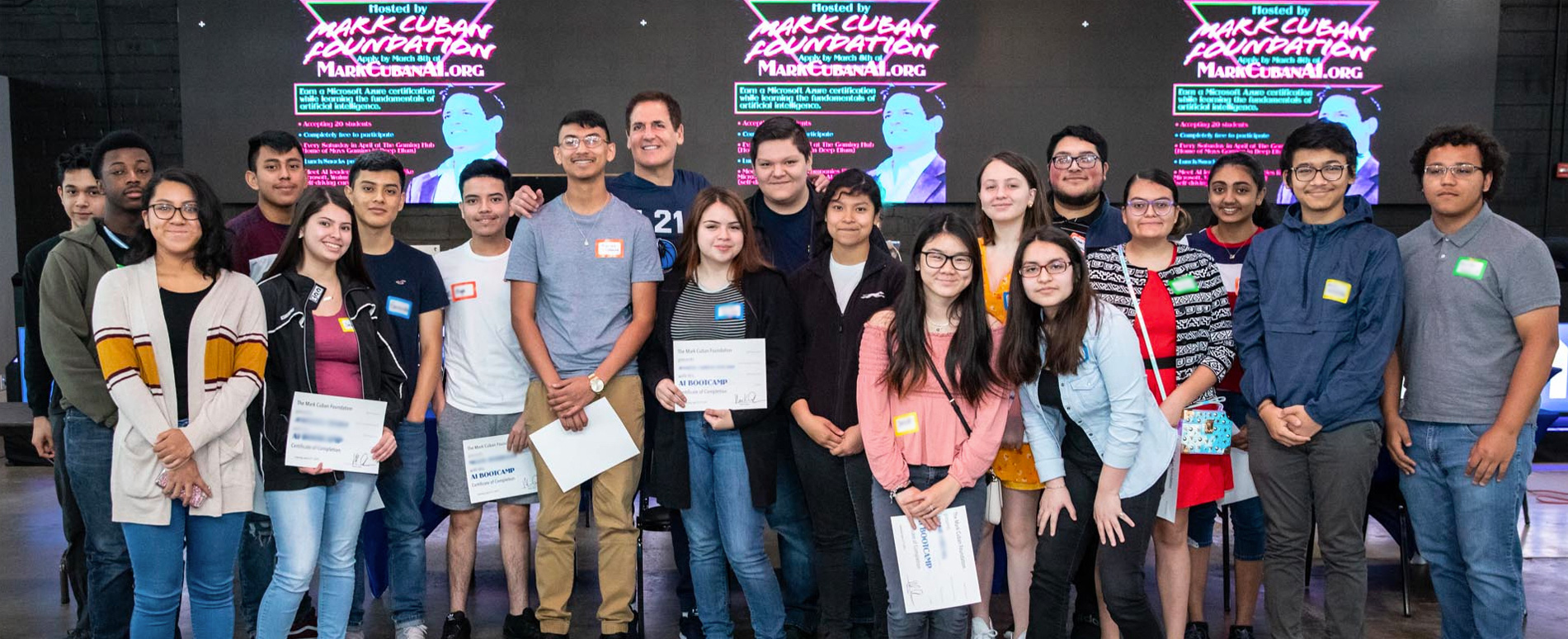 Students from the Mark Cuban Foundation AI Bootcamp